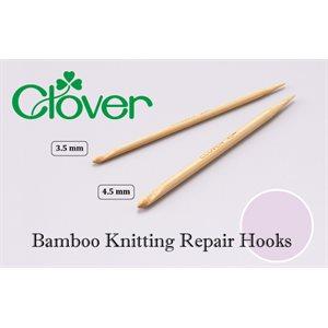 Crochet en bambou pour réparation de points, CLOVER