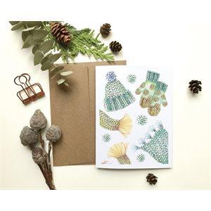 Carte de Souhait - Tricot Vert et Jaune